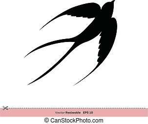 gabarit, -, hirondelle, conception, vecteur, silhouette, logo, illustration, oiseau