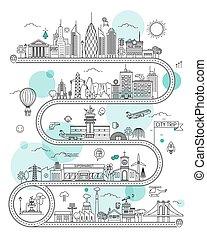 gabarit, infographic, route ville