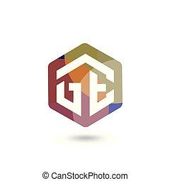gabarit, initiale, ge, vecteur, lettre, logo, hexagonal