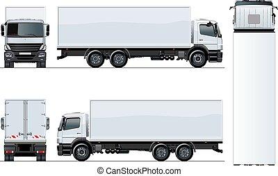 gabarit, isolé, vecteur, camion, fond, blanc