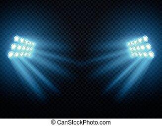 gabarit, isolated., lumières, projecteurs, vecteur, stade, brillant, projecteur