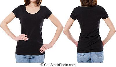 gabarit, jeune, tshirt, arrière-plan noir, girl, blanc