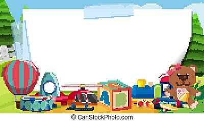 gabarit, jouets, frontière, parc, beaucoup