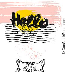 gabarit, lettrage, carte, bonjour, textured, cat., dessiné, salutation, vecteur, main, encre