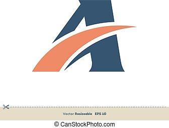 gabarit, lettre, conception, logo, swoosh, illustration