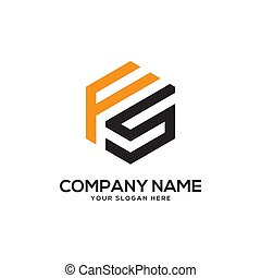 gabarit, logo, conception, inspiration, hexagonal, fs
