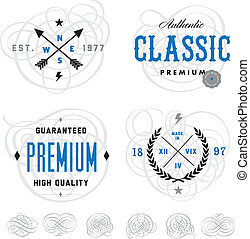 gabarit, logo, ensemble, vecteur, swril, vendange
