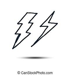 gabarit, main, eps, vecteur, dessiné, ensemble, illustration, 10., conception, éclairage, boulon, icône