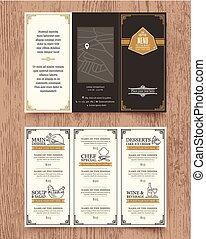 gabarit, menu, vendange, conception, brochure, restaurant
