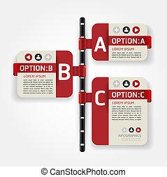 gabarit, numéroté, utilisé, lignes, infographics, conception, /, vecteur, timeline, site web, coupure, bannières, horizontal, graphique, moderne, être, disposition, ou, boîte