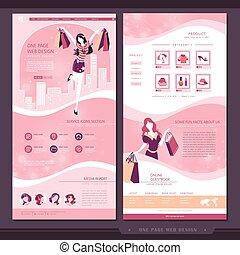 gabarit, page, achats, une, site web, conception, concept