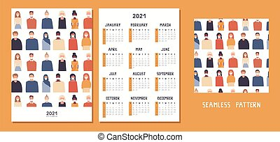 gabarit, planificateur, coronavirus, conception, sunday., ...