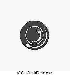 gabarit, plaque, fourchette, vecteur, conception, cuillère