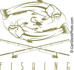 gabarit, poisson-chat, vecteur, vendange, conception, peche