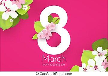 gabarit, printemps, 8, s, femmes, design., international, mars, jour, flowers., affiche