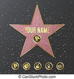 gabarit, promenade, nom, réaliste, hollywood, -, renommée, étoile, mockup
