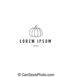 gabarit, pumpkin., main, illustration., vecteur, dessiné, logo
