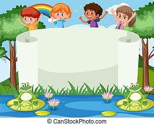 gabarit, quatre, heureux, enfants, bannière, jardin