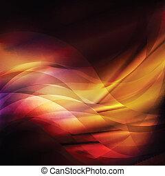 gabarit, résumé, lignes, vecteur, flamme, fond, orange, rouges