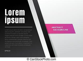gabarit, séparé, gradient, résumé, diagonal, papier couleur, arrière-plan noir, blanc, style.