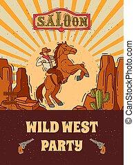 gabarit, sauvage, occidental, ouest, gabarits, vecteur, illustration., affiche, invitation, cow-boy, aviateur, ou, inviter, fête, vendange