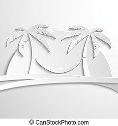 gabarit, sea., papier, illustration, moderne, île, vecteur, palma, design.