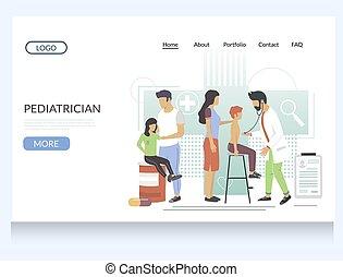 gabarit, site web, vecteur, pédiatre, atterrissage, conception, page