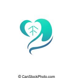 gabarit, soin, santé, coeur, logo, abrégé main, organique