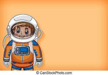 gabarit, sourire heureux, uni, astronaute, fond