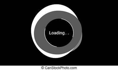 gabarit, upload., cercles, preloader, interface, arrière-plan., animation., gris, blanc, téléchargement, progrès, cercle, toile, noir, tourner, chargement, conception