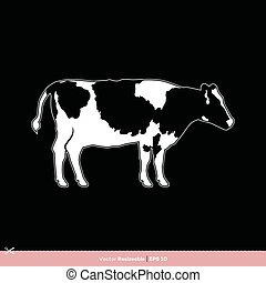 gabarit, vache, conception, vecteur, silhouette, logo, illustration