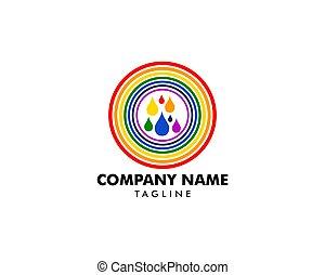 gabarit, vecteur, arc-en-ciel, illustration, pluie, logo, icône, conception