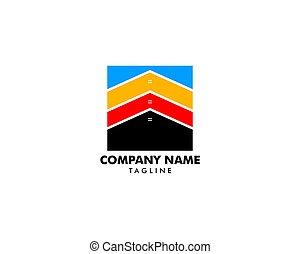 gabarit, vecteur, conception, carrée, illustration, maison, logo