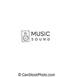 gabarit, vecteur, main, speaker., musique, dessiné, charge, logo, theme.