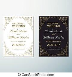 gabarit, vendange, invitation, aviateur, conception, fond, mariage
