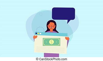 gabarit, webpage, conversation, jeune, femme affaires