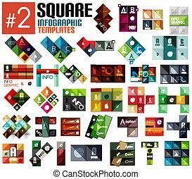 gabarits, énorme, ensemble, infographic, carrée, #2