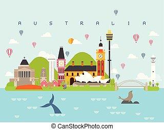 gabarits, être, style, ensemble, carte postale, affiche, repères, livre, usage, illustration, célèbre, australie, infographic, vecteur, voyager, billboard., icône, voyage, symbole, minimal, boîte