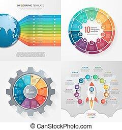 gabarits, 10, processes., business, parties, options, quatre, infographic, étapes, concept.