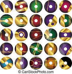 gabarits, 25, dvd, cd, vecteur, étiquette, ou