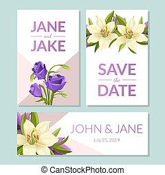 gabarits, beau, espace, ensemble, texte, cadre, invitation, illustration, fleurs, élégant, vecteur, mariage, floral, sauver, date, carte