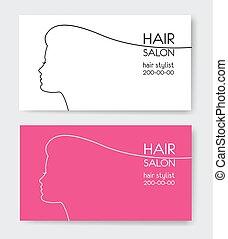 gabarits, beau, salon, affaires femme, figure, cheveux, carte, sil