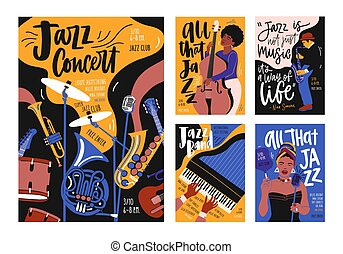 gabarits, concert, vecteur, affiche, festival, affiche, instruments, jazz, contemporain, collection, événement, musical, musiciens, musique, illustration, aviateur, dessiné, dessin animé, main, style., singers.