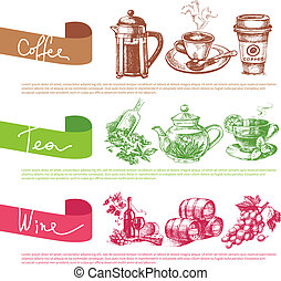gabarits, croquis, ensemble, café, thé, vecteur, conception, menu, vin, illustrations.