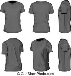gabarits, cylindre court, hommes, t-shirt, conception, noir