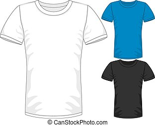 gabarits, cylindre court, mens, t-shirt, vecteur, conception