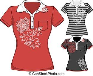 gabarits, cylindre court, t-shirt, vecteur, conception, womens