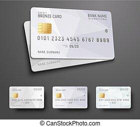 gabarits, (debit), résumé, polygonal, crédit, conception, banque, fond, blanc, carte