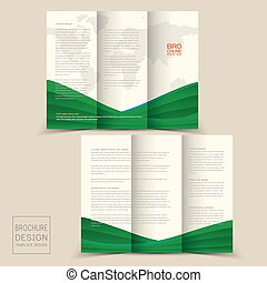 gabarits, dynamique, vague, tri-fold, conception, brochure