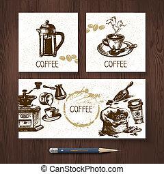 gabarits, ensemble café, menu, croquis, main, banners., vecteur, conception, illustrations, dessiné, identité